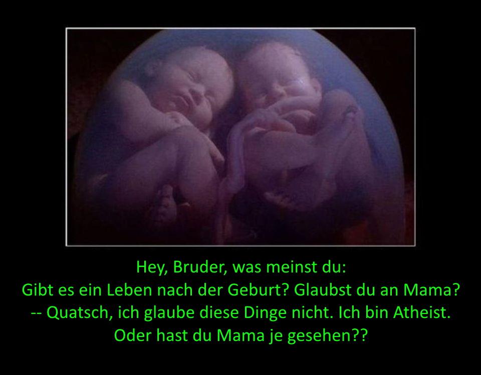 Hey, Bruder, was meinst du: Gibt es ein Leben nach der Geburt? Glaubst du an Mama? -- Quatsch, ich glaube diese Dinge nicht. Ich bin Atheist. Oder hast du Mama je gesehen??